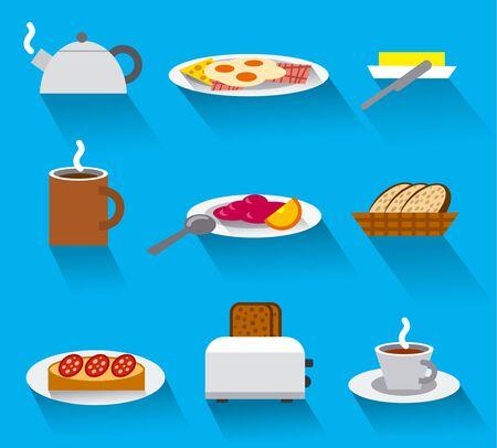 bacon art: breakfast icon set