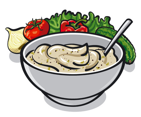 food dish: traditional sauce tartar in bowl, cream sauce with spices, vegetables, condiments and lettuce