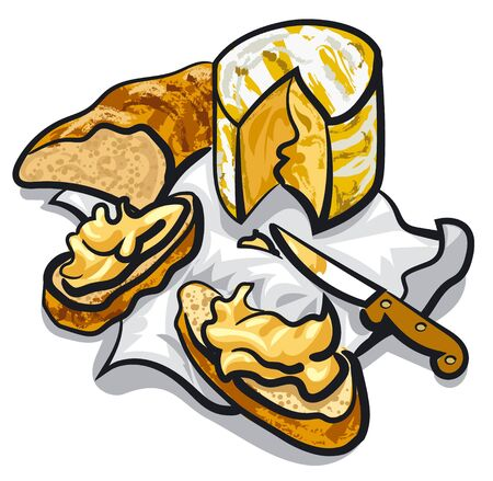 appetizers: cheese and bread Illustration