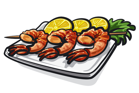 appetizers: grilled sea food, shrimps, prawns with lemon on plate in restaurant, dinner, appetizers Illustration