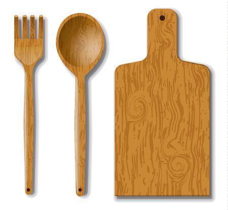 ustensile de bois, fourchette, cuillère et planche de bois de cuisine