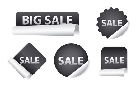 gray scale: advertising sale stickers, design promotion icons and banners in gray scale colors