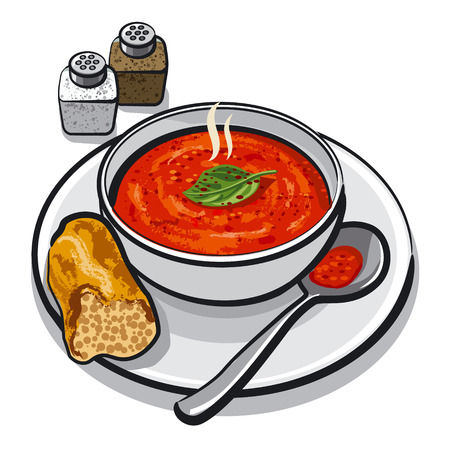 appetizers: hot tomato soup in bowl Illustration