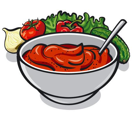 sauce tomate avec des légumes, l'oignon, le concombre, la laitue et les épices