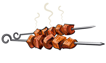 pork meat: meat kebab grilled, veal, pork, mutton, steaks on skewers, picnic with grilled meal