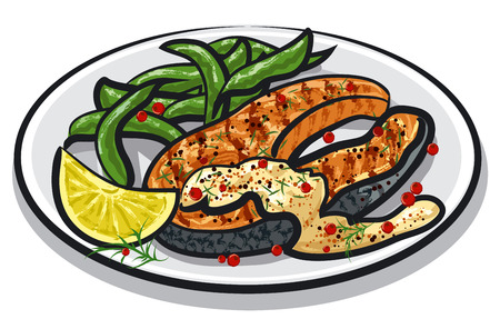 steak plate: grilled salmon steak on plate with sauce, spinach, condiments and lemon Illustration