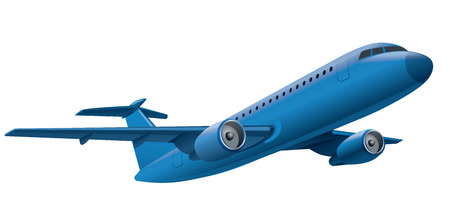 air transport: illustration of flying blue airplane