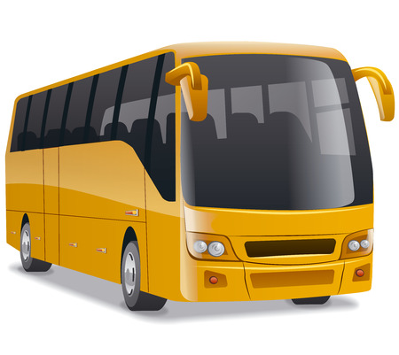golden new modern comfortable city bus on the road, no people, vector illustration