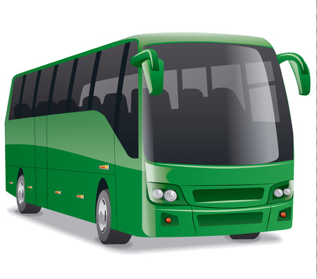 comfortable: green new modern comfortable city bus on the road, no people Illustration