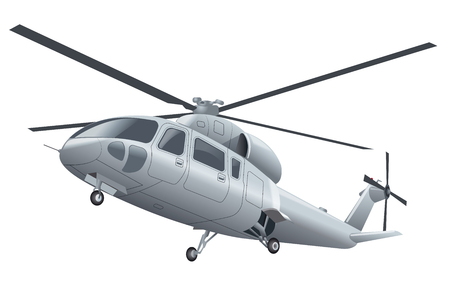 chassis: silver flying helicopter with chassis in the air Illustration