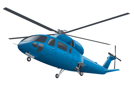 chassis: blue flying helicopter with chassis in the air Illustration