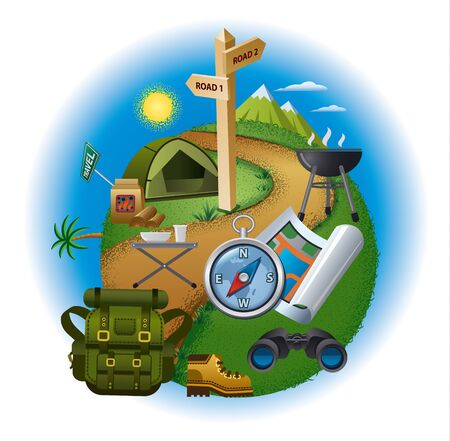turismo: Ilustración del concepto de turismo, senderismo y viajes, equipo para acampar y la navegación mapa