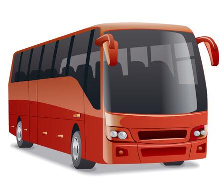 rojo nuevo y moderno cómodo autobús de la ciudad en la carretera, hay gente Ilustración de vector