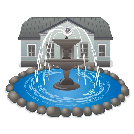 garden fountain: illustration of fountain in garden