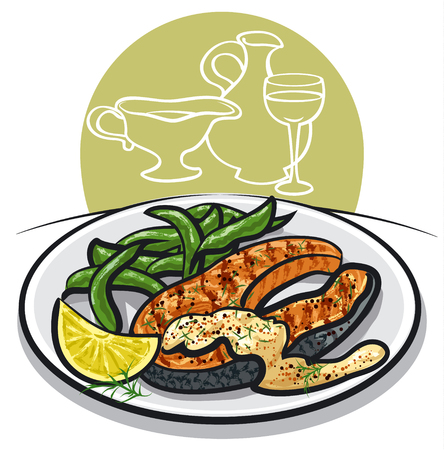 cooked fish: grilled salmon steak on plate with sauce, spinach, condiments, wine and lemon Illustration