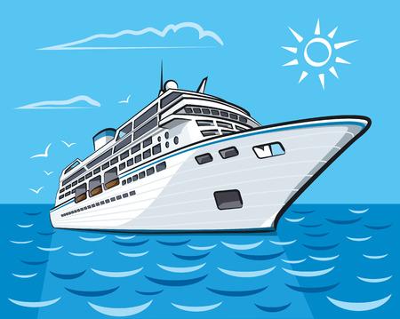 Lujo crucero liner nave en el océano Ilustración de vector