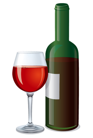 cabernet: illustration of red bottle wine with glass full of wine