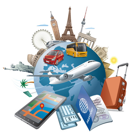 Illustration de concept Voyage autour du monde célèbres monuments par avion de transport, voiture, train
