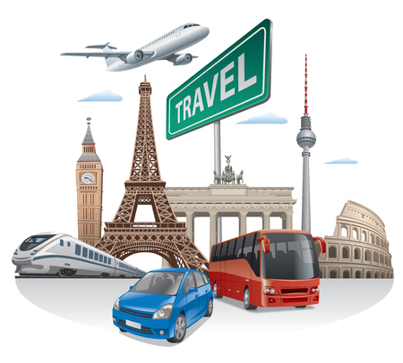 illustration journey: concept illustration of travel and journey in europe