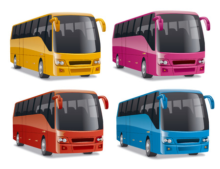 comfortable: new modern comfortable city buses on the road, no people, vector illustration in different colors