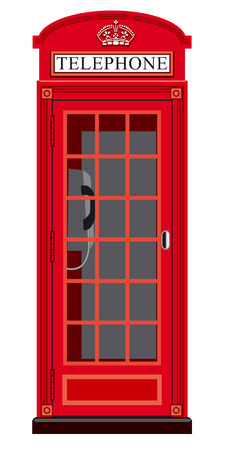 telephone booth: illustration of classic english booth phone in london