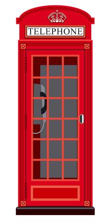 cabina telefonica: ilustración de la cabina telefónica Inglés clásico en Londres Vectores