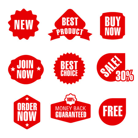 retail sales: set of different flat advertising and promotion badges, stickers and banners