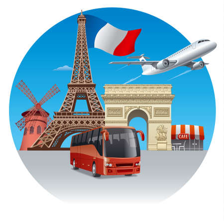 airplane travel: concept illustration of travel and tour in france and paris by bus and airplane