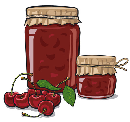 cherries: illustration of jars of canned goods with cherry jam and fresh cherries