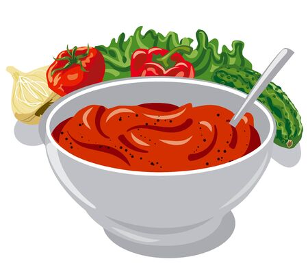 tomato sauce: tomato sauce with vegetables, onion, cucumber, lettuce, pepper and spices Illustration