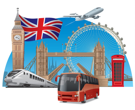 london england: concept illustration of travel and tour in england and london by train, airplane and bus Illustration