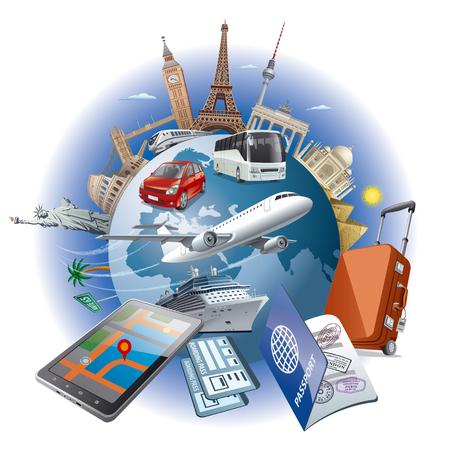 concepto de ilustración de los viajes alrededor de los puntos de referencia de fama mundial por aire de transporte, coche, tren, barco de cruceros