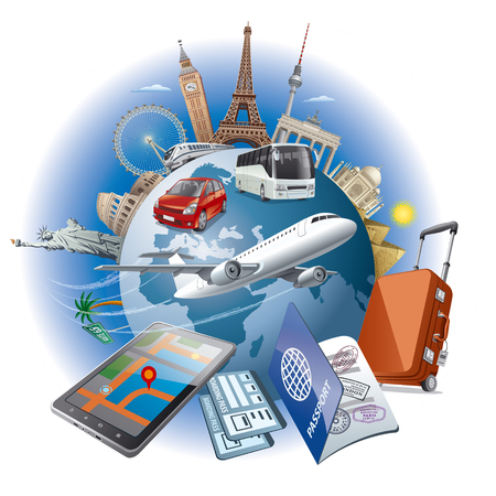 world travel: concept illustration of travel around the world famous landmarks by transport