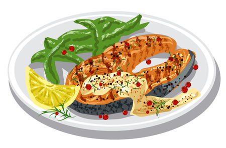 grilled salmon steak on plate with sauce, condiments and lemon Illustration