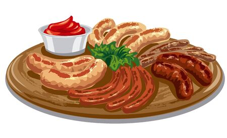 sausages: various grilled roasted sausages with tomato sauce on wood board Illustration