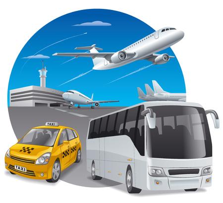 chofer de autobus: Ilustración del coche de taxi y autobús en el aeropuerto para los pasajeros Vectores