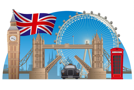 london england: concept illustration of england and london town Illustration