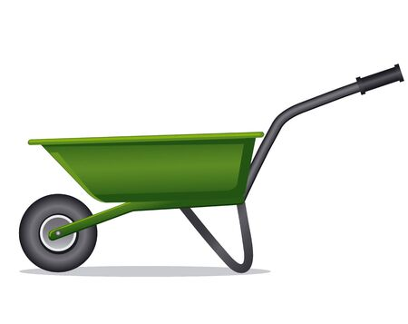 metal industry: green wheelbarrow for gardening and construction