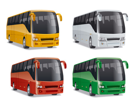 bus tour: set of new modern comfortable city buses on the road, no people, vector illustration in different colors Illustration