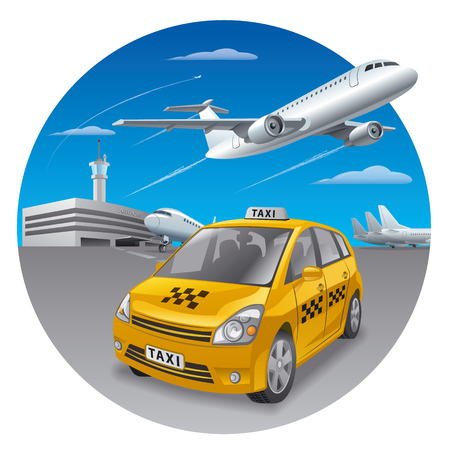 yellow taxi: illustration of taxi car in airport for passengers Illustration