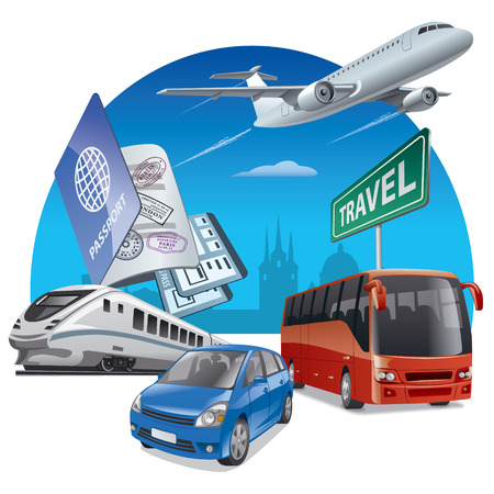 plane: concept illustration of travel and transport, car, airplane, bus and train