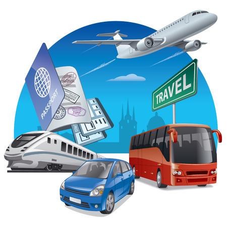 aereo: illustrazione del concetto di viaggio e di trasporto, auto, aereo, autobus e treno Vettoriali
