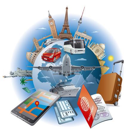 lustración del concepto de viaje alrededor de los puntos de referencia de fama mundial por aire de transporte, coche, tren, barco de cruceros Ilustración de vector