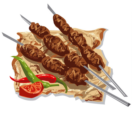 tasty kebabs on skewers with pita bread, tomato and chilly peppers Ilustrace