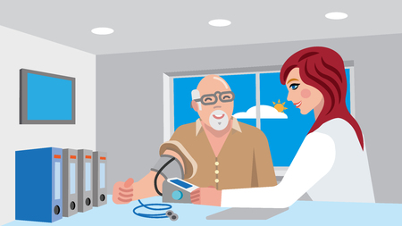 nurse and senior patient in hospital measuring blood pressure