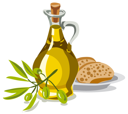 illustration of oil olive with bread and fresh olives