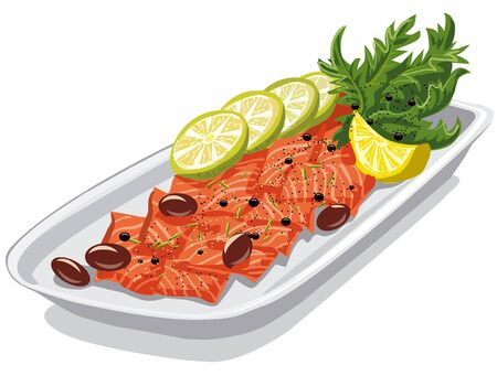 raw beef: illustration of carpaccio with olives and lemons