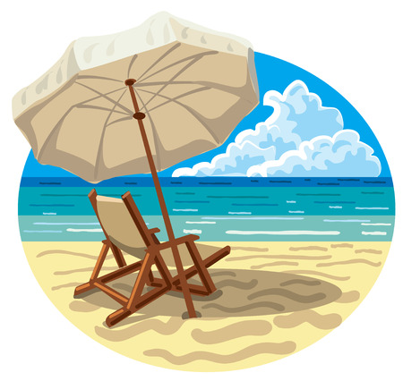 lounge chair: illustration of lounge chair and umbrella on the sand sea beach