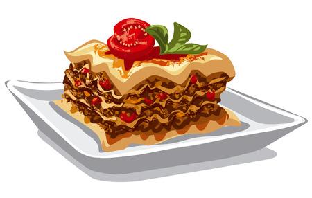 carne picada: ilustración de lasaña tradicional plato italiano al horno con carne picada Vectores