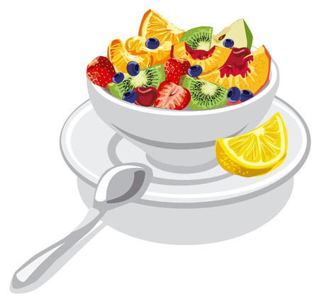 fruit salad: illustration of fresh fruit salad with peach, apple, strawberry, kiwi and cherry in bowl
